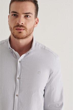 Avva Erkek Gri Düz Düğmeli Yaka Regular Fit Gömlek A11y2026 2