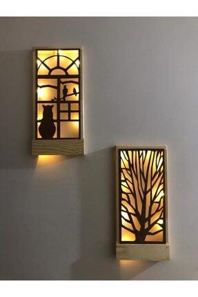 MSAĞWOODS Kahverengi Ledli Masif Ahşap Tablo Duvar Süsü 36x18  2 Li Set 0