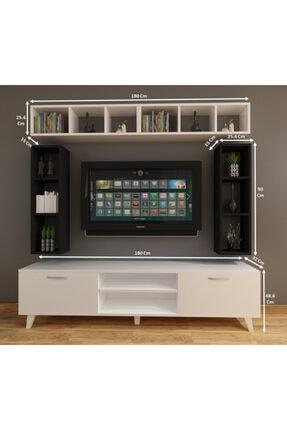 Dekormer Design Tv Ünitesi Dolaplı Siyah Beyaz 180 Cm Ve Kitaplık 4