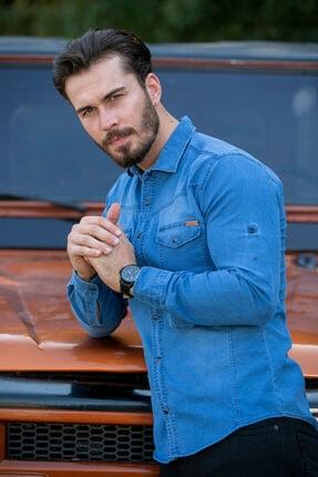 BAYEFENDİ Açık Mavi Cepli Kot Gömlek Slim Fit 2