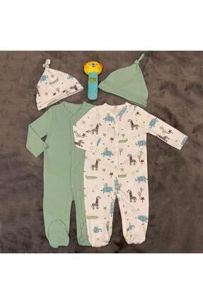 PİEROSBABY Pieros Baby 0071 Erkek Bebek 2'li Tulum Şapkalı 0