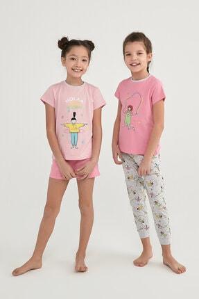 Picture of Kız Çocuk Çok Renkli Hoolahoop 4Lü Pijama Takımı