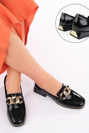 Marjin Kadın Siyah Rugan Loafer Ayakkabı Annar 3