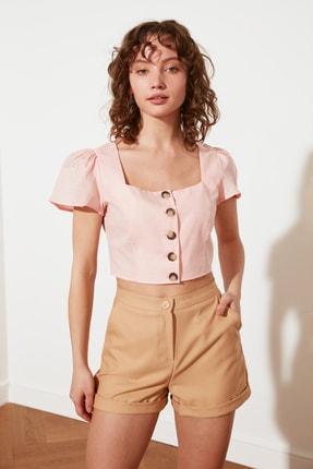 TRENDYOLMİLLA Somon Petite Düğmeli Bluz TWOSS21BZ1449 4