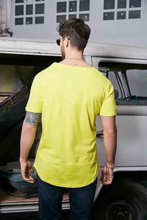 Sateen Men Erkek Sarı Kısa Kol Long Kesim Basic T-Shirt 2