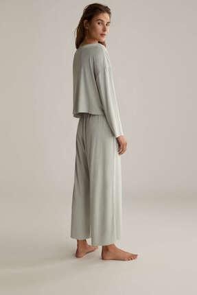 Oysho Kadın Düz Renkli Ve Fitilli Pijama Üstü 4