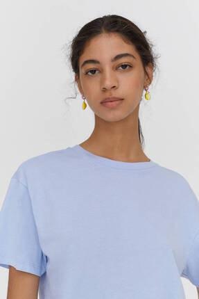 Pull & Bear Biyeli Dikişli Crop Fit T-shirt - %100 Organik Pamuklu 3