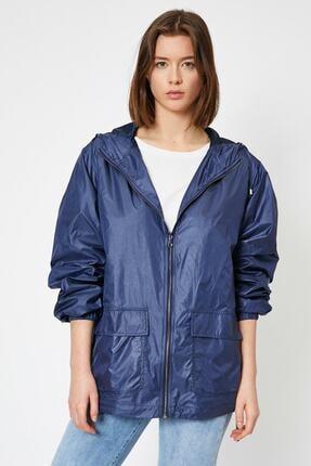 Koton Kadın Lacivert Kapüşonlu Yağmurluk 0yak23889ew 0