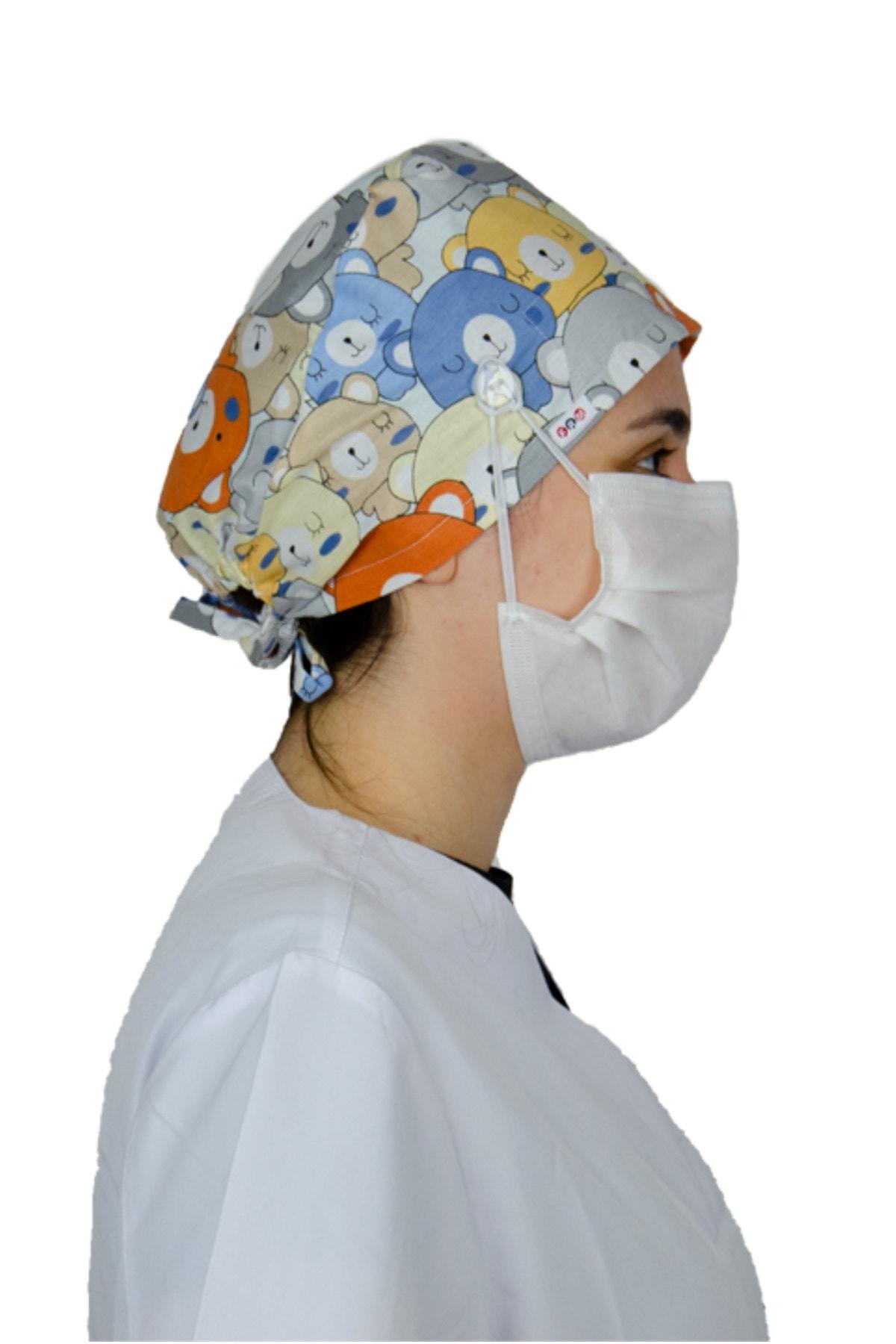 frm tekstil Doktor Hemşire Aşçı Bonesi, Cerrahi Bone %100 Pamuk, Maske Için Düğme Ve Terbantlı B Model Ayıcık