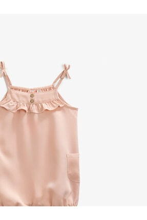 Koton Kız Bebek Pembe Askılı Fırfırlı Tulum 2