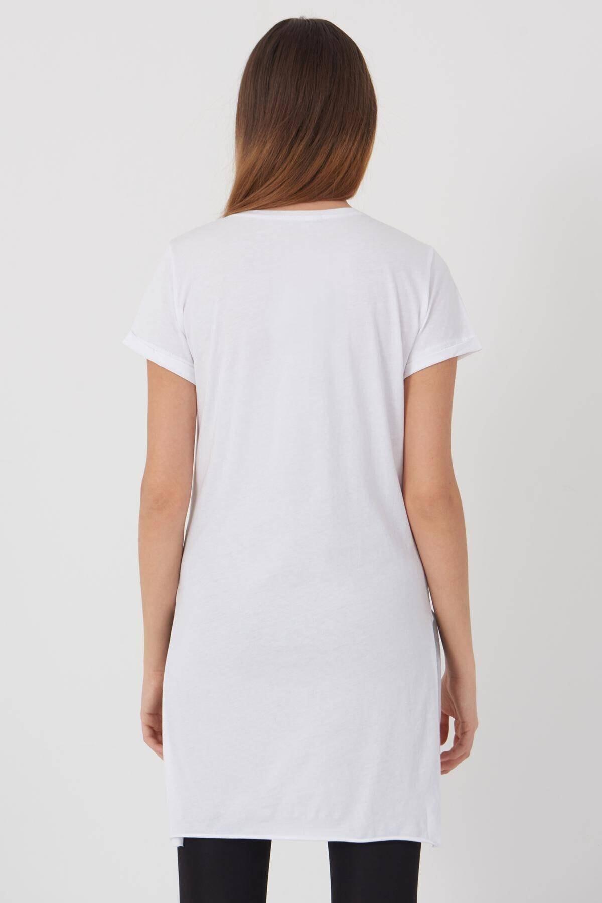 Addax Kadın Beyaz V Yaka T-Shirt P0102 - U1 Adx-00007205 3