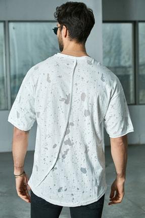 Sateen Men Erkek Beyaz Arkası Çapraz Biyeli T-Shirt 2