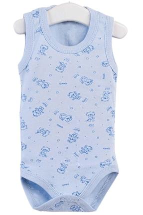 Pattaya Kids Erkak Bebek Mavi Kolsuz Çıtçıtlı Body 0-36 Ay 0