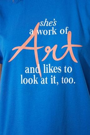 TRENDYOLMİLLA Saks Baskılı Semi-Fitted Örme T-Shirt TWOSS20TS0432 3