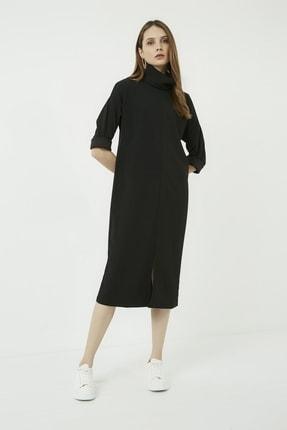 Vis a Vis Kadın Siyah Yırtmaçlı Salaş Boğazlı Elbise 2
