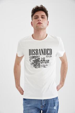Defacto Erkek Ekru Slim Fit Slogan Baskılı Tişört 0