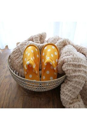 Chochili Kadın Sarı Puantiye Tasarım Yumuşak Taban Ev Terliği 0