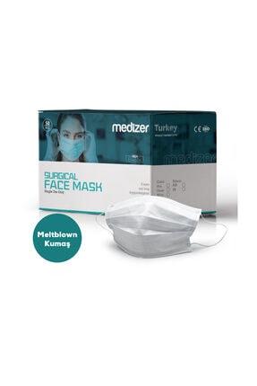 Sabomar Medizer Full Ultrasonik Cerrahi Ağız Maskesi 3 Katlı Meltblown Kumaş 50 Adet - Burun Telli 2