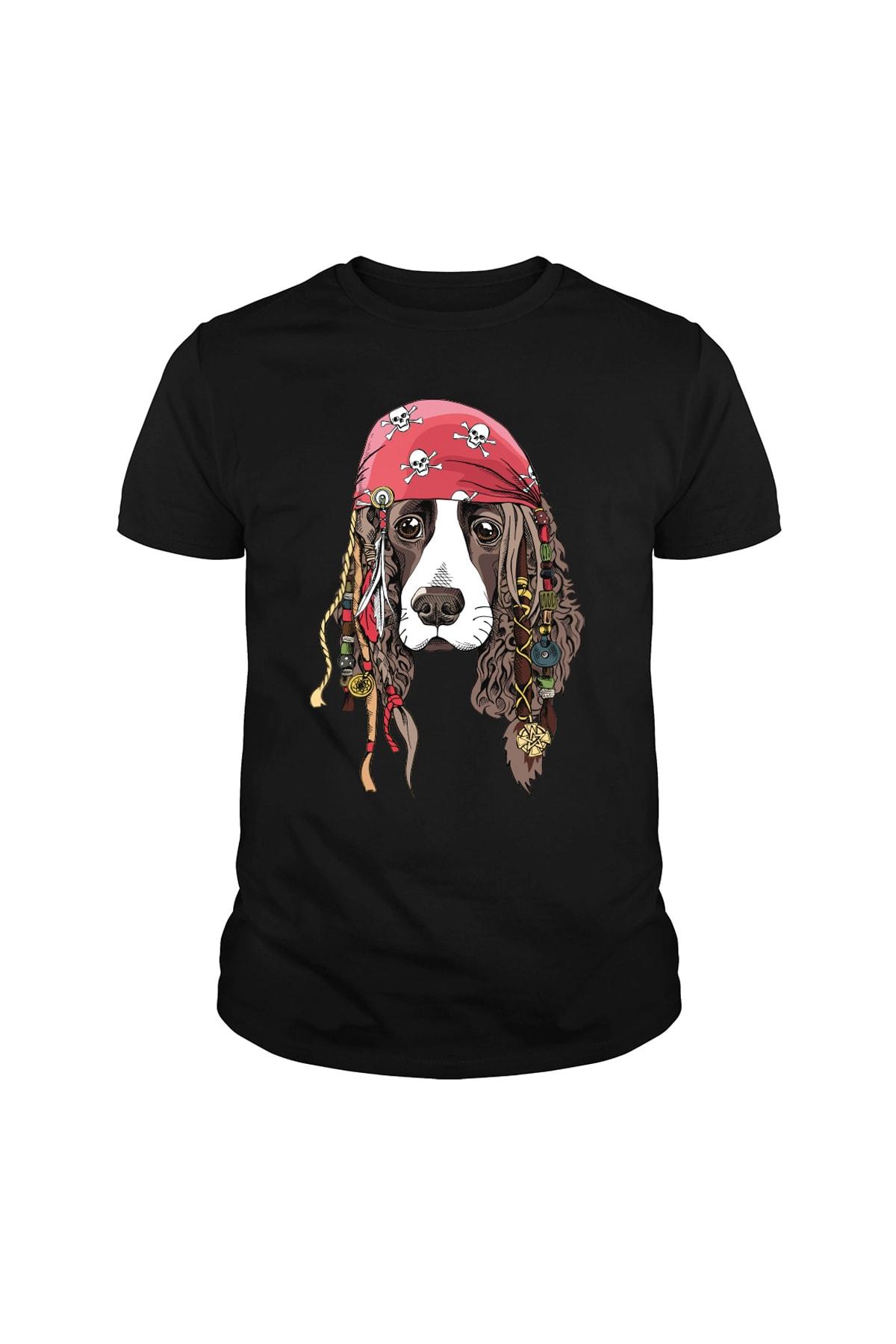 Keyif Fırtınası Erkek Siyah Korsan Köpek Baskılı  Tshirt