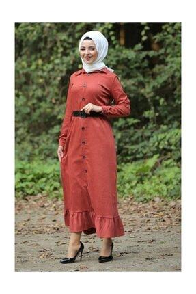 Tesettür Dünyası Kadın Volanlı Kadife Elbise TSD1847 Kiremit TSD1847 1