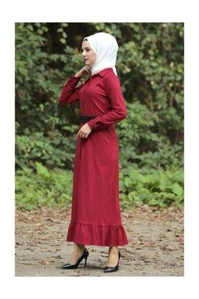 Tesettür Dünyası Volanlı Kadife Elbise Tsd1847 Kırmızı 0