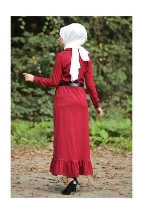 Tesettür Dünyası Volanlı Kadife Elbise Tsd1847 Kırmızı 2