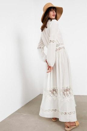 İpekyol Kadın Beyaz Dantel Şeritli Uzun Ceket IS1200005115002 2