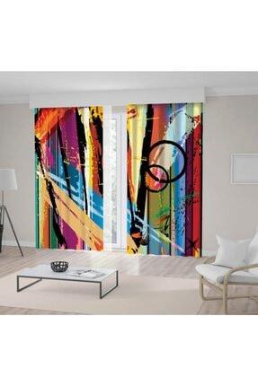 Henge Home Yağlı Boya Etkili Renkli Sürralist Desenli Fon Perde 0