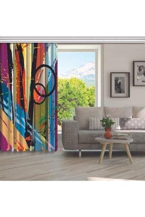 Henge Home Yağlı Boya Etkili Renkli Sürralist Desenli Fon Perde 4