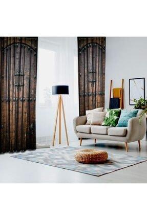 Henge Home Eski Ahşap Tahta Kapı Desenli Kahve Rengi Fon Perde 1