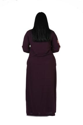 New Color Kadın Mürdüm Nakış Detaylı Uzun Krinkıl Elbise 1