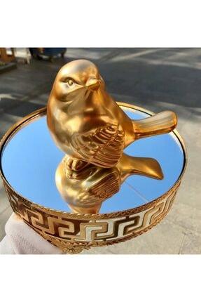 AROW Gold Renkli Şık Dekoratif Kuş Biblo 2