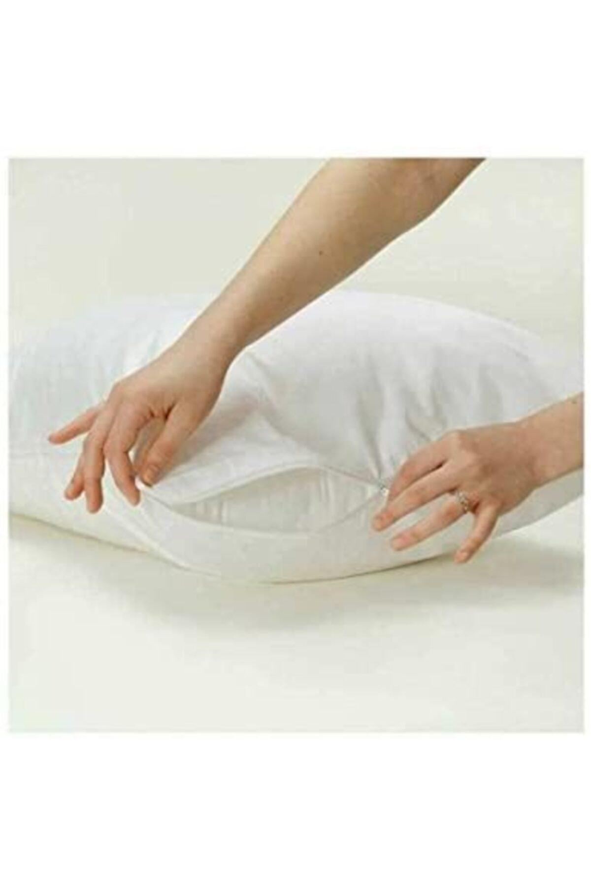 10 Adet Fermuarlı Beyaz Renk Yastık Kılıfı