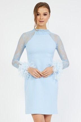 Shine İstanbul Tüylü Dantelli Elbise 1