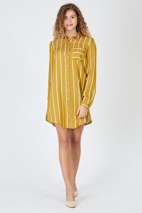 Pera Çizgili Hardal Tunik Elbise 1
