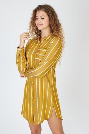 Pera Çizgili Hardal Tunik Elbise 2