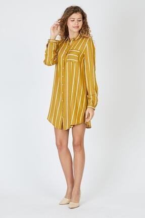 Pera Çizgili Hardal Tunik Elbise 3