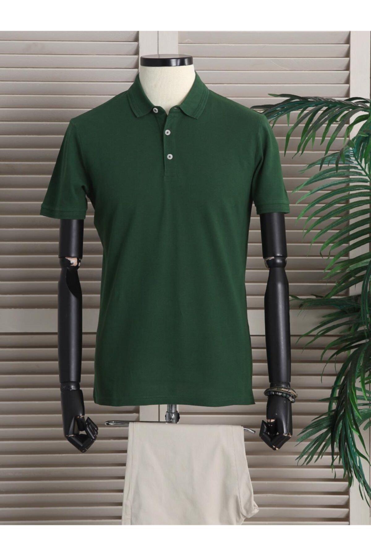 Erkek Yeşil Yakalı Düz Örme T - Shirt