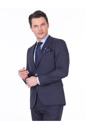 Erkek Lacivert Kareli Dokuma Takım Elbise KP10115958