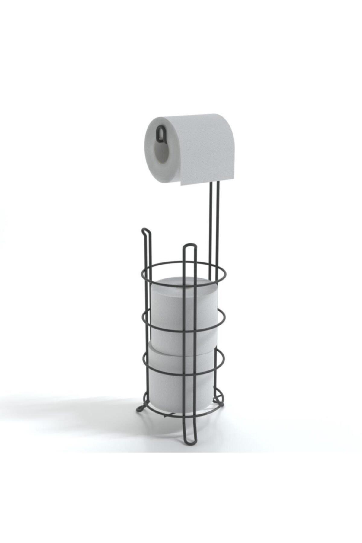 Ayaklı Yedekli Wc Tuvalet Kağıtlık Mat Siyah Mg093