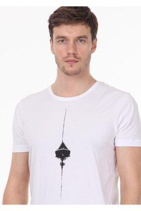 Ramsey Erkek Beyaz Baskılı Örme T - Shirt RP10120145 1