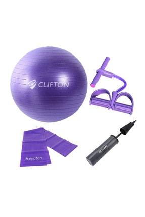 Clifton 65 cm Mor Dura-Strong Deluxe Pilates Topu+Body Trimmer +Pilates Bandı + Pompa Set 1