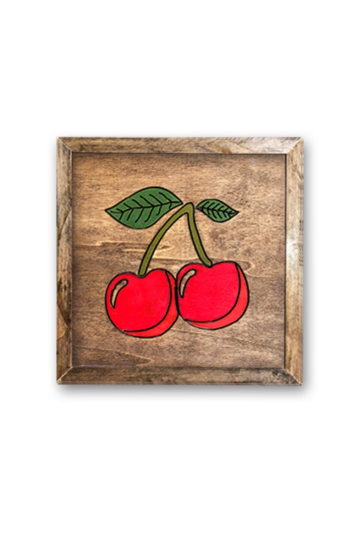 Çizgisel Kiraz I Ahşap Tablo Cherry I Wooden Wall Art Deco