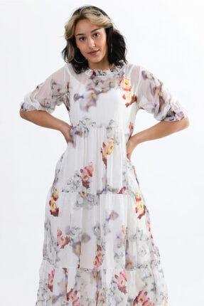 Camena Kadın Beyaz Çiçek Baskılı Ipek Elbise 2019070500086 2