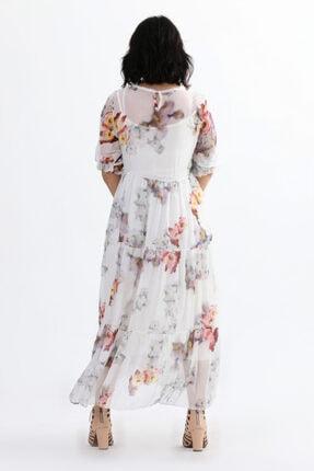 Camena Kadın Beyaz Çiçek Baskılı Ipek Elbise 2019070500086 3