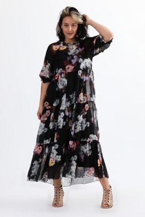 Camena Kadın Siyah Bisiklet Yaka Çiçek Baskılı İpek Elbise 2019070500087 0