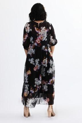 Camena Kadın Siyah Bisiklet Yaka Çiçek Baskılı İpek Elbise 2019070500087 3