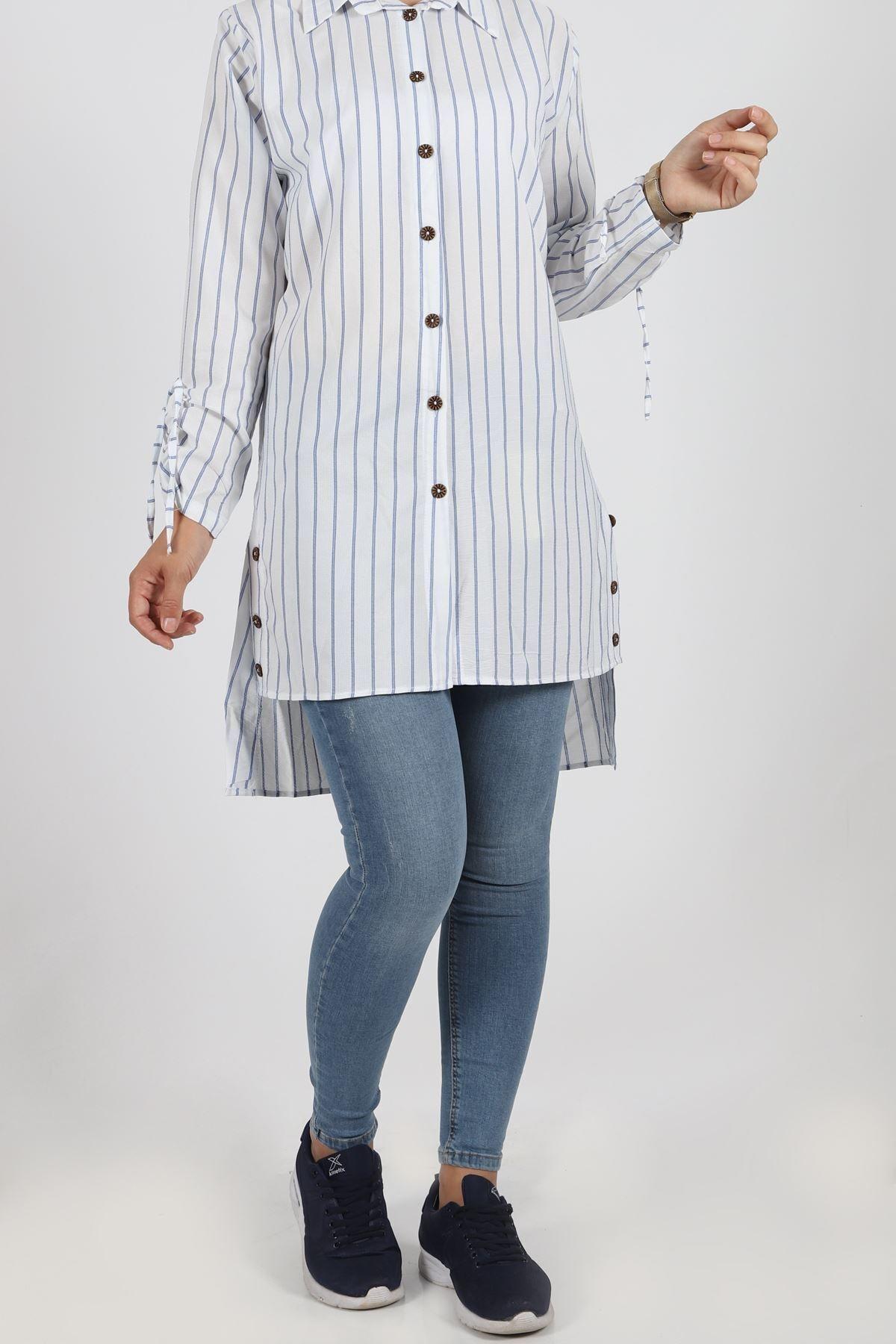 0285 Cotton Kumaş Bayan Gömlek Tunik - Mavi