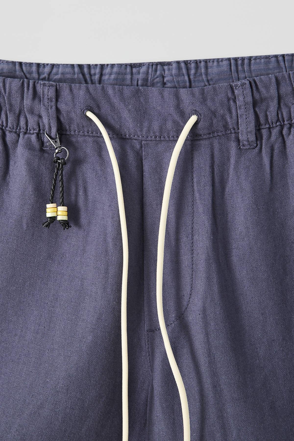 Pull & Bear Erkek Lacivert Keten Chino Model Bermuda 09695501 1