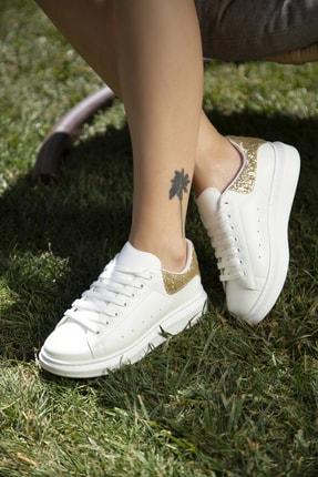 Ayakkabı Modası Beyaz-altın Kadın Sneaker 5007-20-110001 0